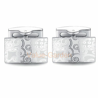 New Hot Style Mens Stainless Steel Silver Pattern Rectangle Wedding Cufflinks
