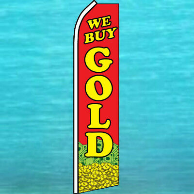 WE BUY GOLD w/ CASH & COINS ADVERTISING SUPER FLAG Feather Swooper Bow Banner