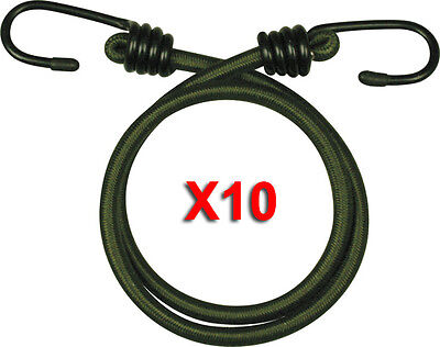 "Bungee Bungees X 10 Olive Green Military 18"" Cords Cord Elastic 45Cm Heavy Duty"