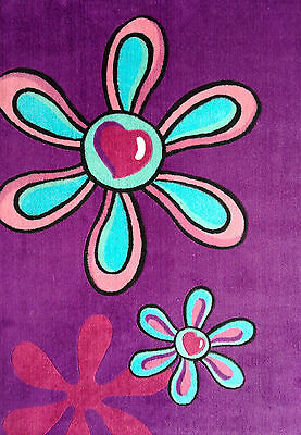 Parti Purple Hearts and Flowers Thick Rug 100x139cm