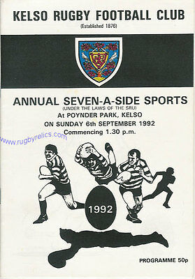 Kelso Sevens 1992 Rugby Programme