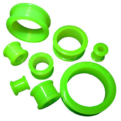 GREEN Flexible Ear Plug Stretcher Soft Silicone Flared Flesh Tunnel 4mm to 30mm