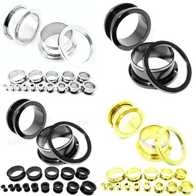 FLESH TUNNEL Screw on Back 316L STAINLESS STEEL METAL EAR PLUG Silver Gold Black