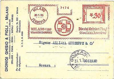 MEDICINE - RED CROSS : ITALY automatic red franking  1935