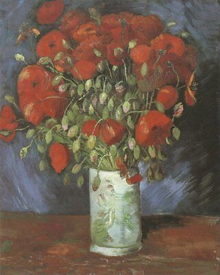Vase with Poppies, Paris Van Gogh VG271 Repro Art Print A4 A3 A2 A1