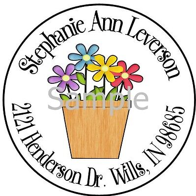 Flowers In A Pot #69 Laser Round Return Address Labels