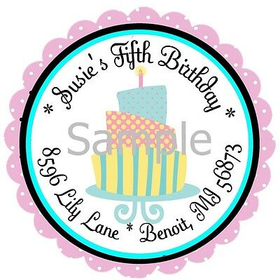 Cute Happy Birthday Cake 20 Round Address Labels