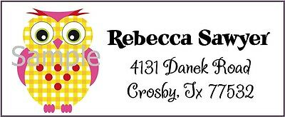 Cute Pink & Yellow Owl #9 Laser Return Address Labels