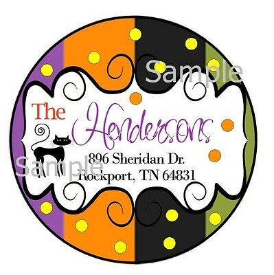 Halloween Black Cat & Polka Dots  ~ Laser Printed Round Address Labels