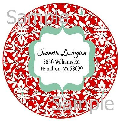 Beautiful Red Damask #1 ~  Round Laser Return Address Labels