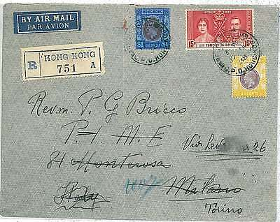 POSTAL HISTORY : HONG KONG - COVER to ITALY 1938 - MIXED FRANKING