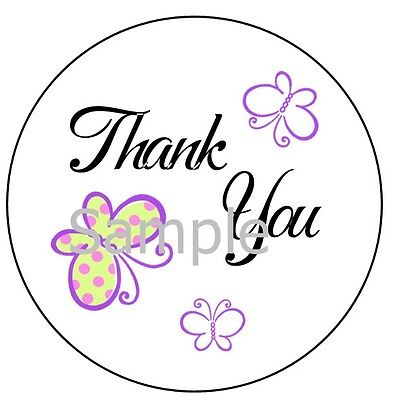 Thank You With Butterflies #1  Large Sticker Labels