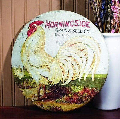 Rooster ROUND TIN SIGN vintage prim country farmhouse chicken metal rustic decor