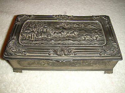 Antique Japan Pewter Metal Trinket Box-Wood Lined-Horse & Buggy Front Etched-WOW