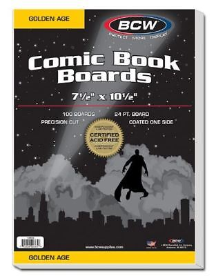 (200) BCW Golden Age Size Comic Book Backing Boards - Acid Free / Precision Cut