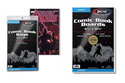 100 Storage Bags and Boards Combo Lot (Current Comic Book Size) - BCW