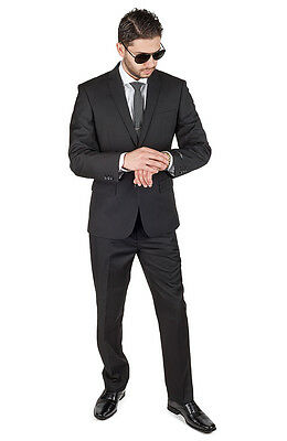 Slim Fit Men Suit Solid Black 2 Button Flat Front Pants Slim Style Suit By AZAR