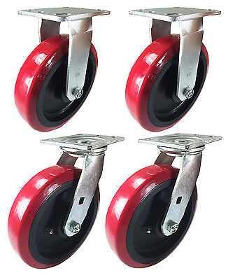 "8"" x 2"" Heavy Duty ""Polyurethane Wheel"" Caster - 2 Swivels & 2 Rigids"