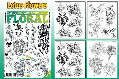 FLORAL FLOWERS Tattoo Flash Design Book 64-Pages Cursive Writing Art Supply