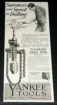 1920 Old Magazine Print Ad, Yankee #1500 Chain Drill, Automatic Friction, Art!