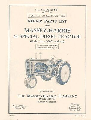 massey ferguson harris m-h 44 special diesel tractor parts book manual  50001up