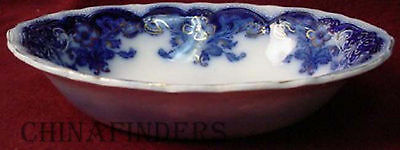 JOHNSON BROTHERS china OREGON flow blue GOLD ACCENT pattern OVAL VEGETABLE BOWL