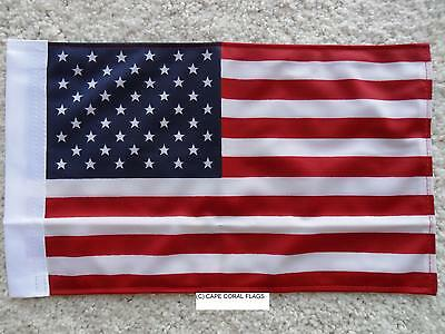 """8""""X12"""" American /U.s.a. Flag Double Sided Knit Nylon With Sleeve Motorcycle /Car"""