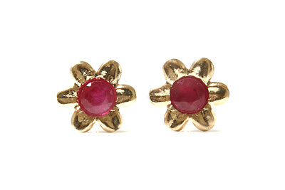 40aad95c9 9ct Gold Ruby Flower Stud earrings Gift Boxed Studs Made in UK Birthday Gift