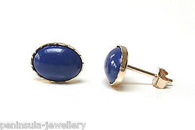 9ct Gold Lapis Lazuli Oval Stud earrings, Gift Boxed Made in UK