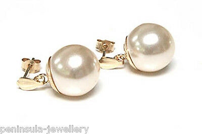 9ct Gold 10mm Pearl Drop earrings Gift Boxed Made in UK