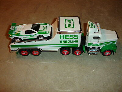 MINT 1991 Hess Gasoline Toy Truck Tractor Trailer & Racer With Original Box