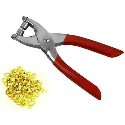 Eyelet Pliers Tool Kit Free 100 Brass Eyelets-Hole Makers/Leather Craft