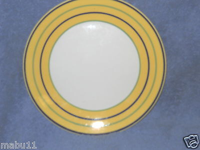 PAGNOSSIN SPA YELLOW STRIPED ACCENT SALAD PLATE BLUE TRIM