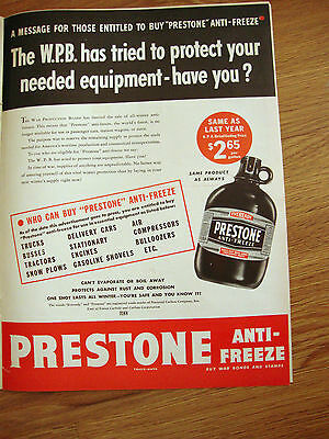 1943 Prestone Anti-Freeze Ad