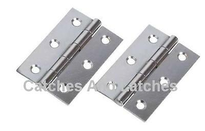 """2 Pcs = 1 Pair of 3"""" (75mm) Butt Hinges - Chrome Plated Door Hinges"""