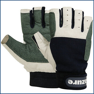 Amara Leather Sailing Gloves Yachting Gloves Boat Rope Gloves Cut Finger Large