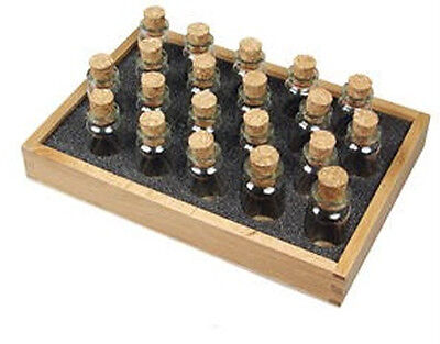24 Glass Corked Bottles For Gem Storage With Wood Tray.