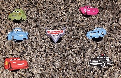 Disney Cars 2 Shoe Charms 7 pc fits croc jibbitz Lightning McQueen~Bonus!