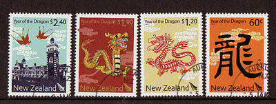 NEW ZEALAND 2012 YEAR OF THE DRAGON SET OF 4 FINE USED