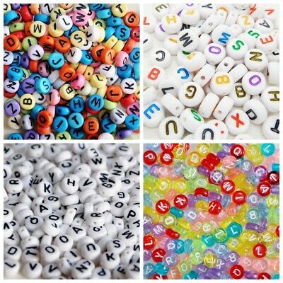 100 x Mixed Letter Alphabet Loose Bead Flat Round Gold Silver White Transparent