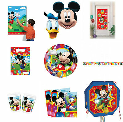 DISNEY MICKEY MOUSE CLUBHOUSE BIRTHDAY PARTY DECORATIONS FAVOURS TABLEWARE