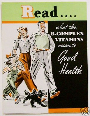 1940's NORWICH B-COMPLEX VITAMIN MEDICAL VINTAGE WW II FAMILY HEALTH PAMPHLET