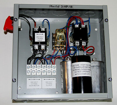 3 HP ROTARY PHASE CONVERTER CONTROL PANEL, Tuned for 3400-3600 RPM idler motor