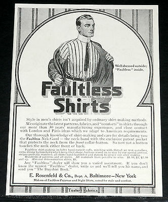 1913 Old Magazine Print Ad, Faultless Shirts, Well-Dressed Outside And Inside!