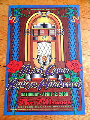 NICK LOWE robyn hitchcock fillmore CONCERT POSTER 13 x 19