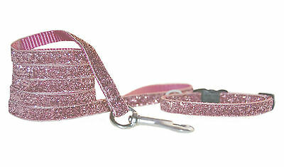 DUSKY PINK SPARKLE CHIHUAHUA  DOG PUPPY COLLAR LEAD SET xs fabric