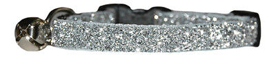 "silver  sparkle kitten cat safety  collar  7""-10"""