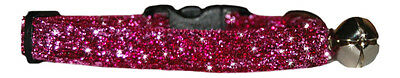 """fabric cerise  pink  sparkle kitten cat  safety  collar   and bell 7""""-10"""""""