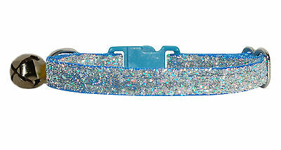 "fabric light blue sparkle kitten cat  safety  collar  7""-10"" bell"