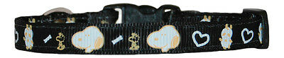 """black  snoopy chihuahua dog/puppy collar 7""""-10"""" fabric"""